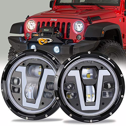 OVOTOR Jeep Headlights LED 7 inch with Halo Ring Amber Turn Signal Lights V Type White DRL Hi Lo Beam for Jeep Wrangler JK TJ LJ CJ Black (Best Jeep Headlight Upgrade)