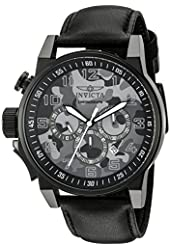Invicta Men's 'I-Force' Quartz Stainless Steel and Black Leather Casual Watch (Model: 20542)