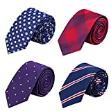 Ausky Elegant Business Skinny Necktie Mens Ties Textured Mixed set 4 Packs (4 PACKS D)