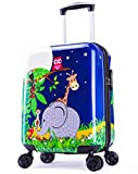 Girls Suitcase Hardshell Spinner Wheels - Kids Luggage 18 inch Carry On Penguin Travel Trolley LeLeTian
