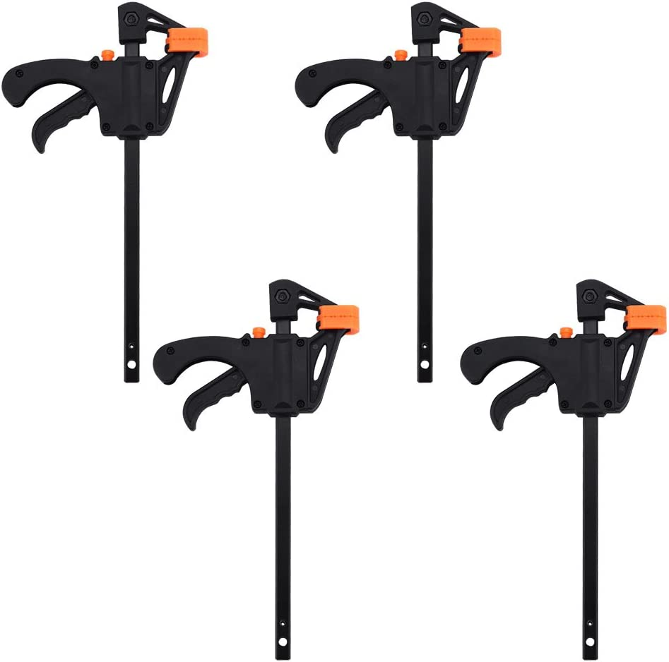 4pcs F-Shaped Bar Clamps, 4inch Clip Grip Quick Ratchet Release Woodworking DIY Hand Tool Kit for Carpenter