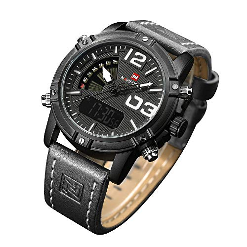 Mens Waterproof Sports Digital Leather Band Wrist Watch Multi-Function Display Backlight Watches (9095black)