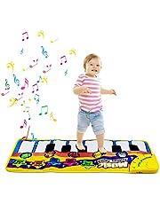 Piano Playmat, Kids Piano Mat Muzikaal Tapijt Baby Vloer Toetsenbord Mat Touch Play Muziek Dans Mat voor Peuter Kinderen Kids Gift (Geel)