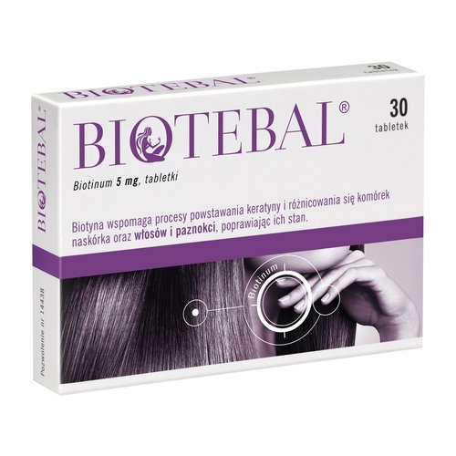 BIOTEBAL Biotin 5mg Extra Strength - 30 tablets - Strengthens Hair Growth Support - Stop Hair Loss Breakage Thinning Hair Relief Hair Skin Nails Vitamin B7 H Treatment