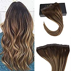 Sunny 16 inch Ombre Clip in Hair Extensions Human Hair with 5 Clips Balayage color Blonde Mixed Brown 70g One Piece Extensions Clip on
