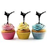 TA0203 Muay Thai Kickboxing Silhouette Party Wedding Birthday Acrylic Cupcake Toppers Decor 10 pcs