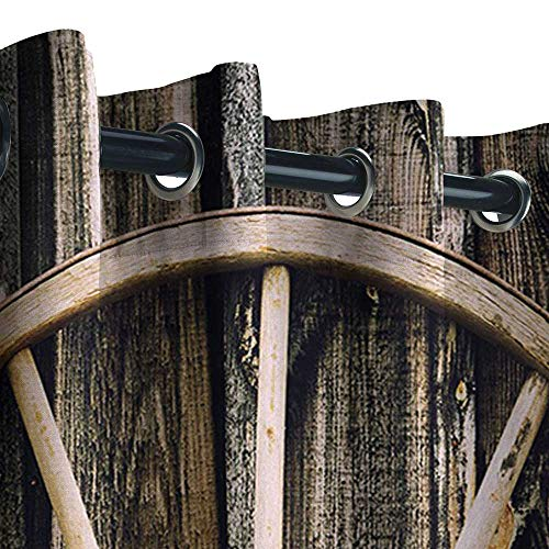 UNOSEKS LANZON Balcony Privacy Curtain Outdoor, Barn Wood