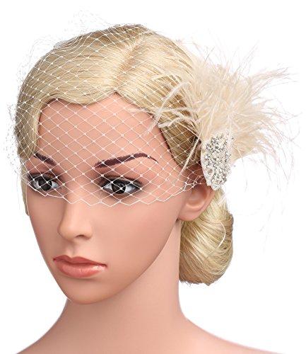 BABEYOND Bridal Wedding Fascinator Mesh Feather Fascinator Hair Clip Hair Fascinator Veil Crystal Wedding Veil (Pink) by BABEYOND (Image #1)