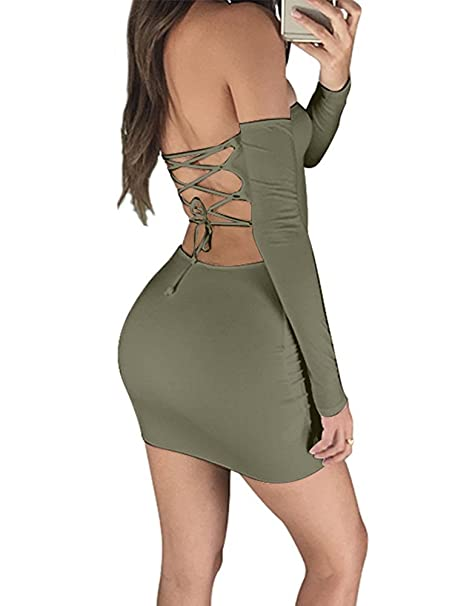 bc7ded3acec3 Rela Bota Women s Sexy Off Shoulder Backless Lace Up Bodycon Party Mini  Dress Clubwear Small Army