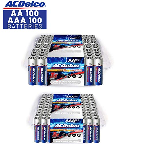 ACDelco AA and AAA Batteries, Alkaline Battery, 100 Count Each Pack