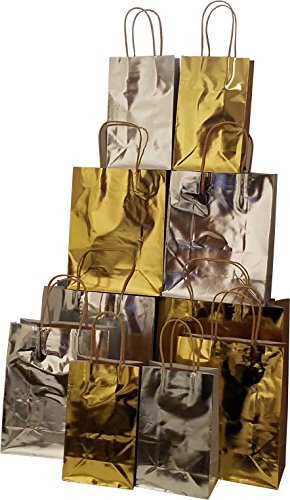 Holiday Gift Bags, Gold & Silver hot stamp, small medium and large, set of 20 holiday bags