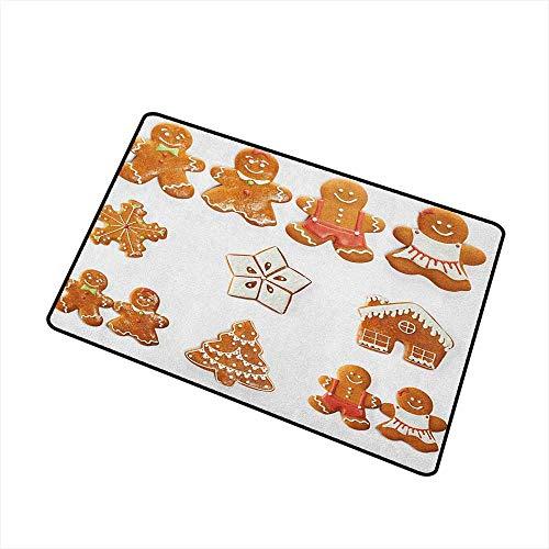 Gingerbread Man Crystal Velvet Doormat Vivid Cute Christmas Gingerbread Biscuits Set Snowflake House Tree with No-Slip Backing 24