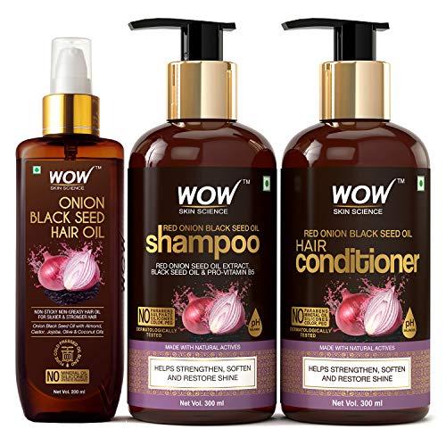 WOW Skin Science Onion Oil Ultimate Hair Care Kit (Shampoo + Hair Conditioner + Hair Oil), 800 ml