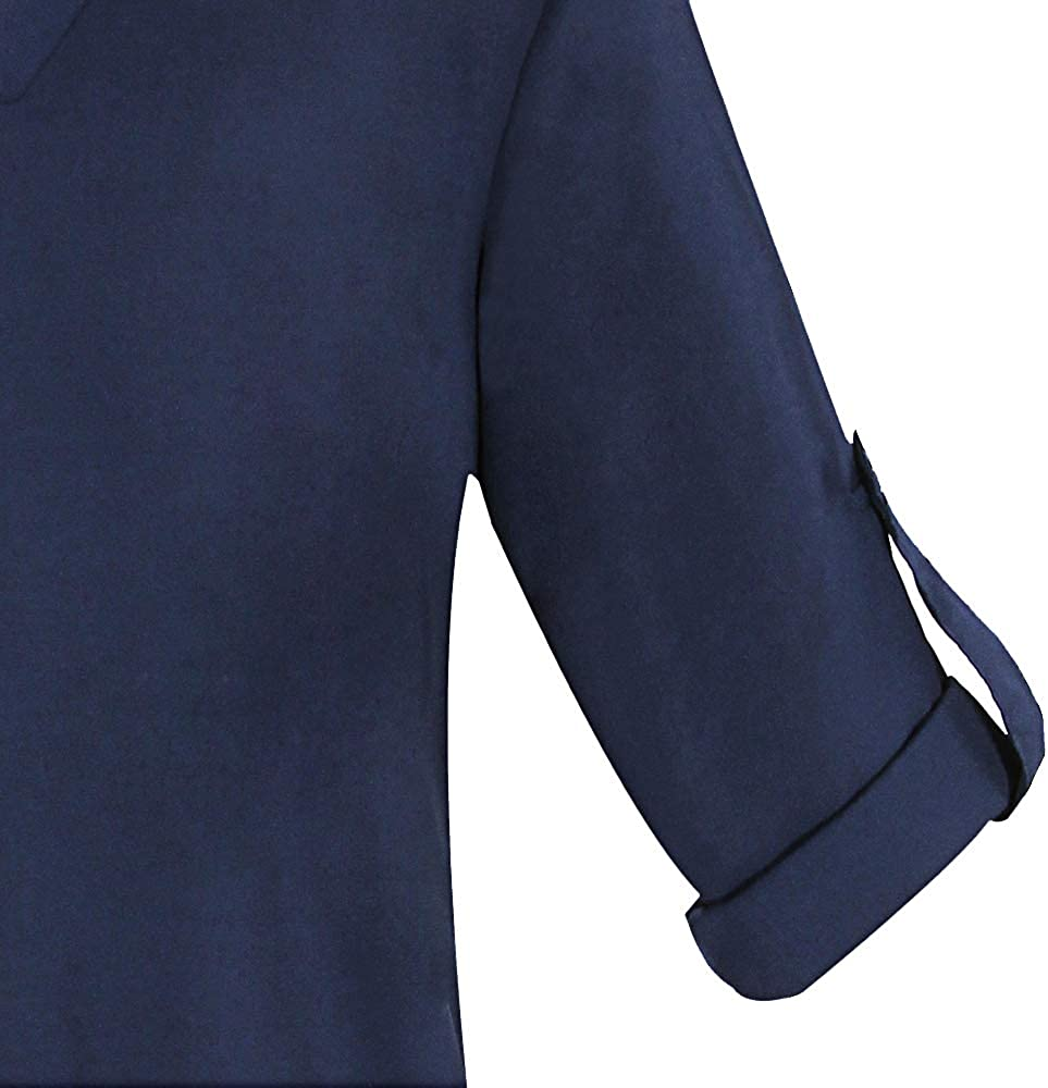 Fleasee Damen Bluse V-Ausschnitt Langarmshirt 3//4 /Ärmel Chiffon Tunika Lose Oberteile Tops