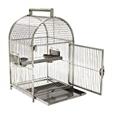 """Pawhut 25"""" Dome Top Stainless Steel Travel Bird Cage"""