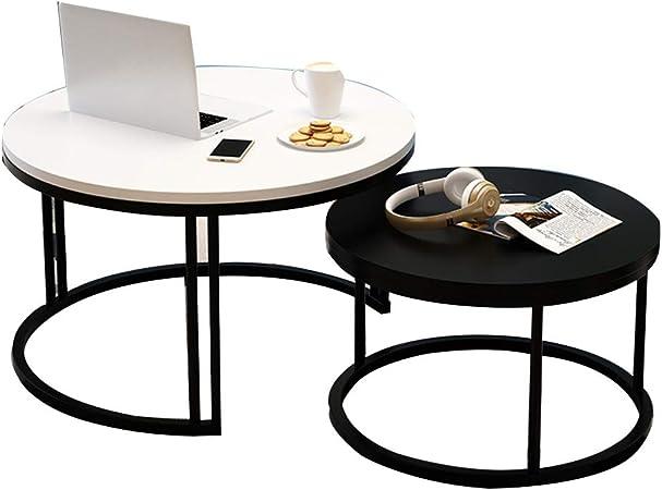 Table XIA Juego de 2 mesas Laterales Redondas, Mesa de Centro con Patas de Metal, Mesa Lateral multifunción, Mesa de Comedor, balcón, 7 Colores (Color : C): Amazon.es: Hogar