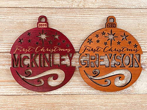 Personalized First Christmas 2019 Ornament (or any year) from Solid Wood