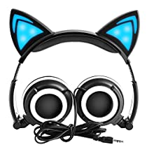 LOBKIN Katzenohren Kopfhörer Kinder Kopfhörer Blinken Glühende Cosplay Fancy Over-Ear Gaming Headset mit LED-Licht für Mädchen, Kinder, kompatibel füriPhone 6S, Android Handys (rosa)