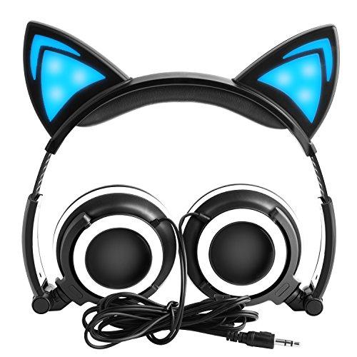 LOBKIN Katzenohren Kopfhörer Kinder Kopfhörer Blinken Glühende Cosplay Fancy Over-Ear Gaming Headset mit LED-Licht für Mädchen, Kinder, kompatibel für iPhone 6S, Android Handys (schwarz)
