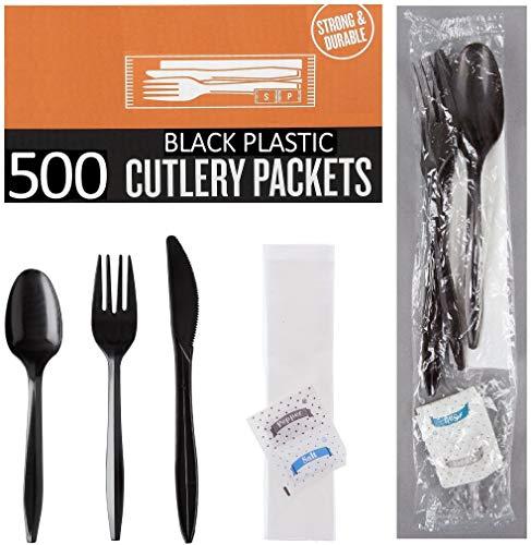 500 Plastic Cutlery Packets – Knife Fork Spoon Napkin Salt Pepper Sets   Black Plastic Silverware Sets Individually…