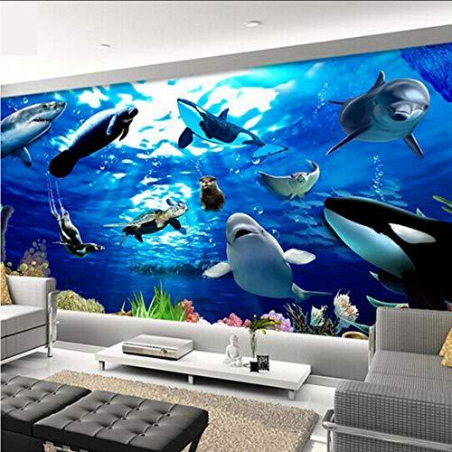 Whale Mural (hwhz Cartoon Wallpaper for Kids Customized 3D Seabed World Wall Mural Dolphin Shark Whale Photo Wallpaper for Kids Bedroom Wall Decor-200X140Cm)