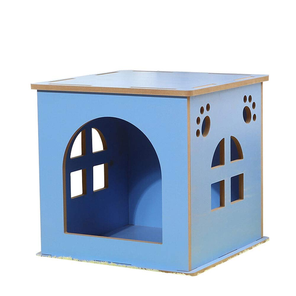 bluee L bluee L Xuoo Dog House Cat Litter Kennel Four Seasons General Large And Small Dogs Teddy Kennel Pet Nest Outdoor Waterproof Outdoor Dog Cage Cat House A Section Apex B Flat Top (color   bluee, Size   L)