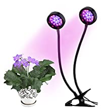 LED Plant Grow Light, Acetek 16W 32LEDs Double Heads Grow Lamp with Desk Clip for Green House Hydroponic Indoor Plants Veg Flower, Flexible Goose neck, 2 Level Dimmable [Energy Class A+++]