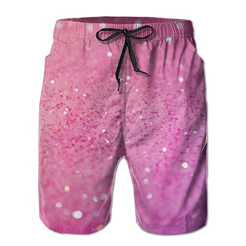 Tydo Pink Glitter Pattern Men's Beach Shorts Casual Summer Surfing Trunks Surf Board Shorts Beach Pants With Pockets For Men M