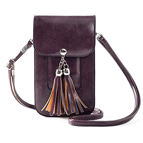 Small Fringe Crossbody Bag Cell Phone Purse Wallet with Touch Screen Window Carabiner Credit Card Slots for Women Gift Purple (Touch Screen Phone Cell)