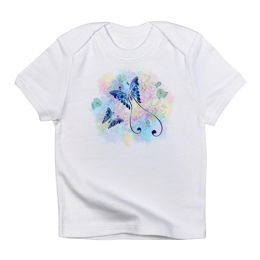 0 To 3 Months Truly Teague Infant T-Shirt Long Tailed Butterfly With Flowers Cloud White