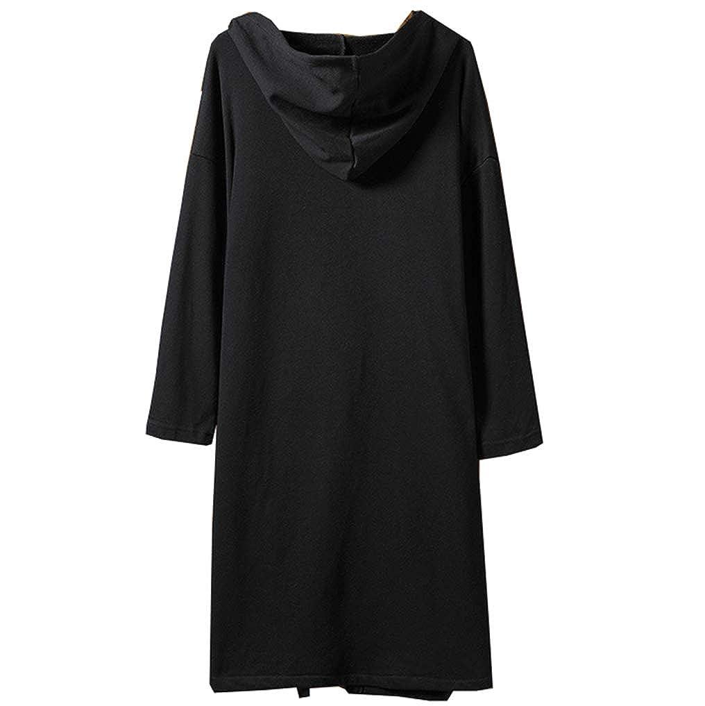Amazon.com: Black-Hoodie Belted Long-Hooded-Cardigan Men ...