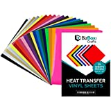 "BizBox Crafts HTV Heat Transfer Vinyl Sheets - Assorted Colors 10"" 12"" Iron-On Multipack Bundle for Silhouette Cameo, Cricut Printing Press Machines - Easy Weed, Flexible, for T-Shirts - 20 Pack"
