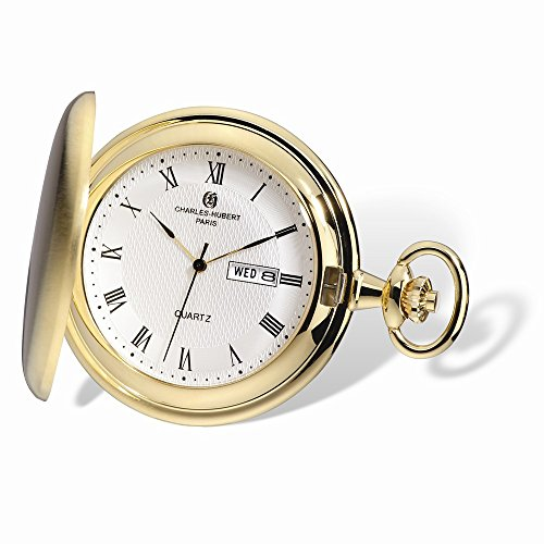 Charles-Hubert, Paris 3974-G Classic Collection Analog Display Japanese Quartz Pocket Watch (Pocket Watch With Date And Day)