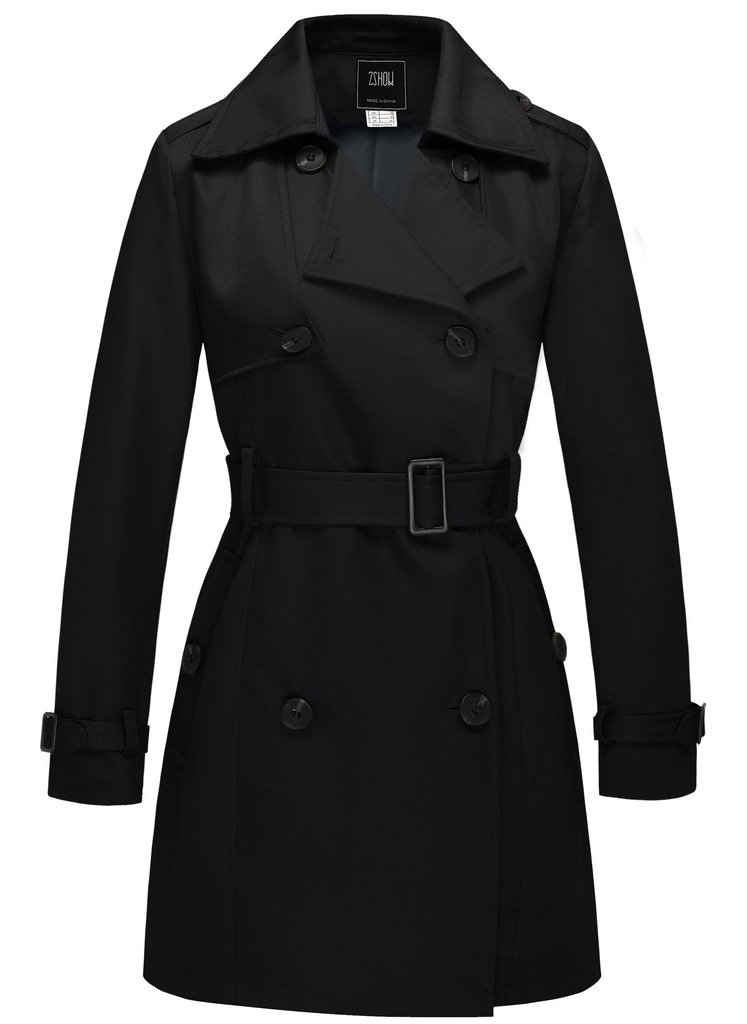 ZSHOW Women's Thigh-Length Front Wrap Trench Coat with Removable Belt US Medium Black