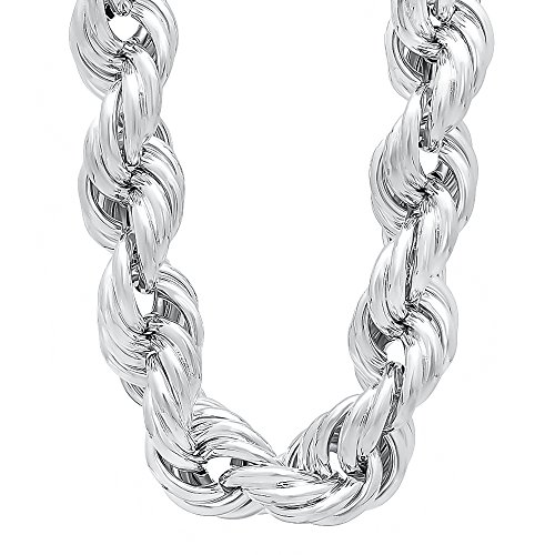 Men's 20mm Silver Plated Hip Hop Jumbo Dookie Rope Chain Necklace, 40'' + Microfiber Polishing Cloth by The Bling Factory