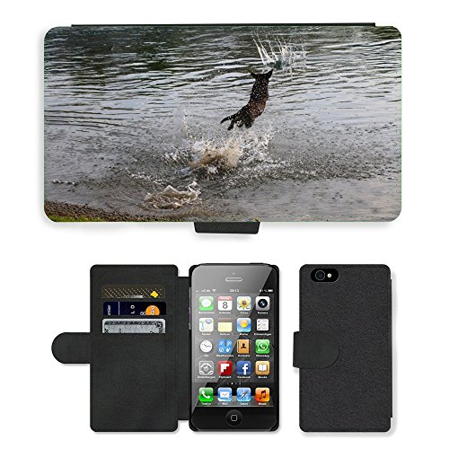 Just Phone Cases PU Leather Flip Custodia Protettiva Case Cover per // M00128705 Eau Faune Chien de chasse Wet Floor // Apple iPhone 4 4S 4G