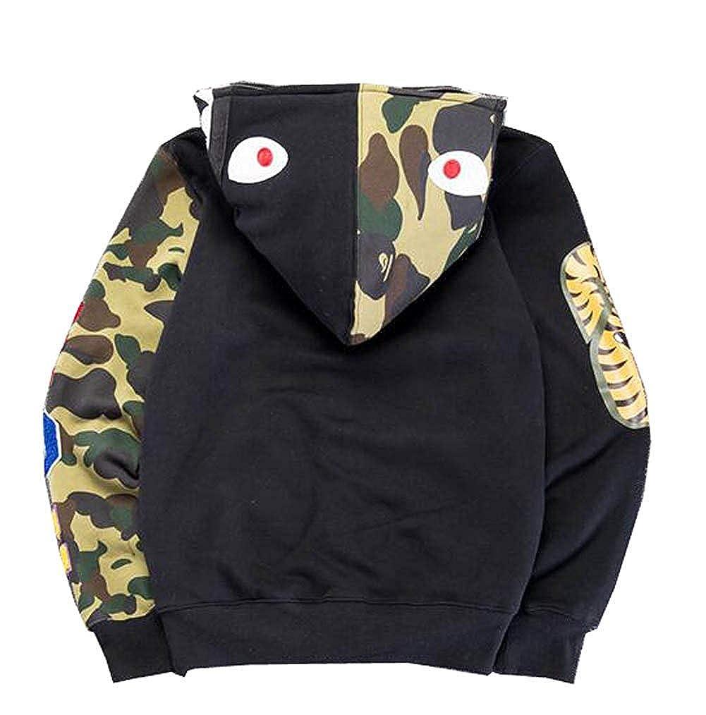 QingShuiYuan Mens Hoodies Sweatshirt Fashion Outdoor Tracksuit Ape Bape Casual Hip-Hop Funny Coat Black Green