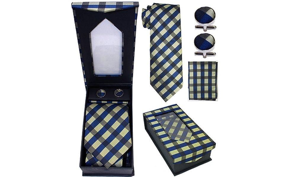 Cufflink Dot Patterns Handkerchief Set Designer Necktie Navy Green Plaid Classy Solid Striped