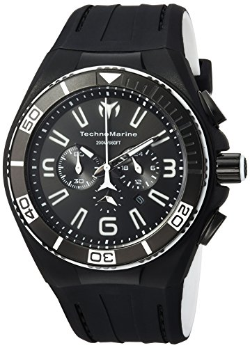 Technomarine Men's 'Cruise' Quartz Stainless Steel and Silicone Casual Watch, Color:Black (Model: TM-115023) (Chronograph Steel Technomarine New Stainless)