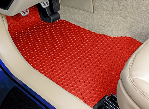 Dodge Challenger Lloyd Mats All Weather Rubber Floor Mats Front and Rear Set - Rear Seat Mats From This 4pc Set Cannot Be Embroidered -Red (2008 08 2009 09 2010 10 ) (Red Rear Mat)