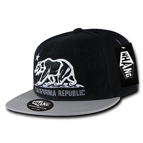 (WHANG Acrylic/Vinyl California Republic Cap, Black/Grey)