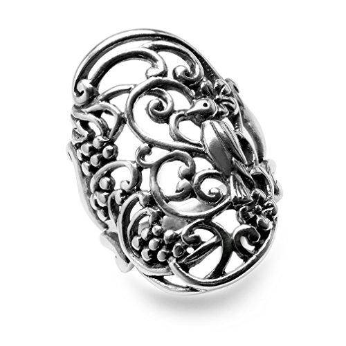 (31MM 925 Sterling Silver BIRD in a TREE Filigree Ring Size 11)