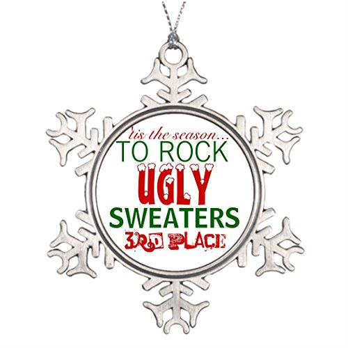 Xmas Trees Decorated 'tis the season to rock ugly sweaters Pewter Snowflake Ornaments Ugly Christmas Sweater Party Prize -