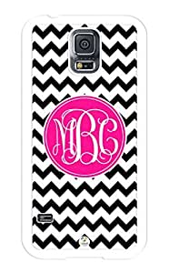 iZERCASE Samsung Galaxy S5 Case Monogram Personalized Black and White Chevron with Hot Pink Circle Pattern RUBBER CASE - Fits Samsung Galaxy S5 T-Mobile, Sprint, Verizon and International (White)
