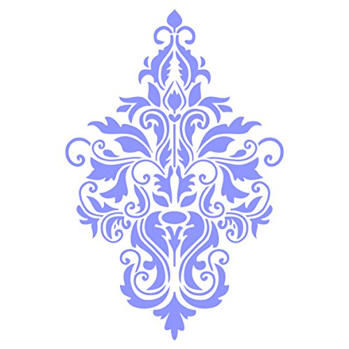 Damask Stencil - 10 x 14 inch (L) - Reusable Large Floral Allover Pattern Wall Stencil Template - Use On Paper Projects Scrapbook Journal Walls Floors Fabric Furniture Glass Wood Etc.