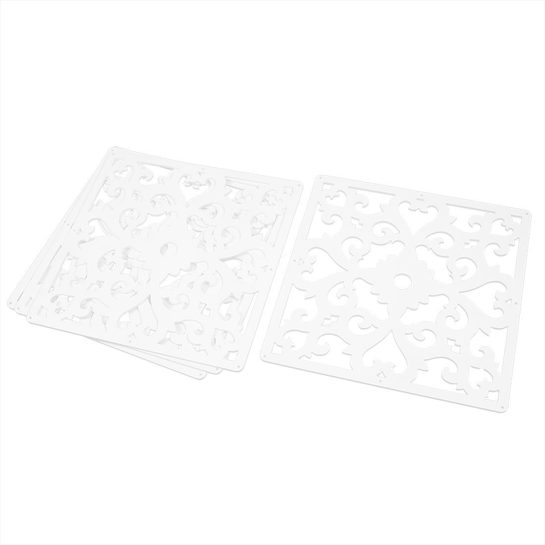 uxcell Flower Pattern Home Hall Carved Window Divider Panel Hanging Screen 4pcs White