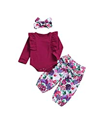 MetCuento Baby Girls Outfits Romper Tops Flower Floral Pants Headband Newborn Girl Clothes Sets