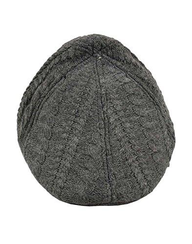 Tiekart Grey Self Design Woolen Warm Golf Cap for Men