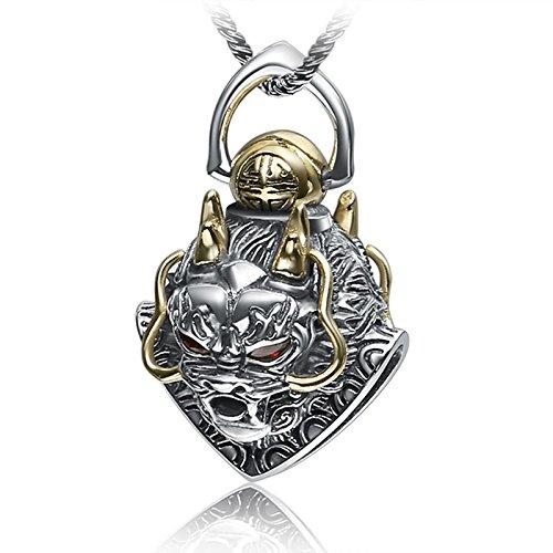(Daesar 925 Sterling Silver Necklace for Men Dragon Head Punk Pendant Necklace Silver Gold Necklace Chain)