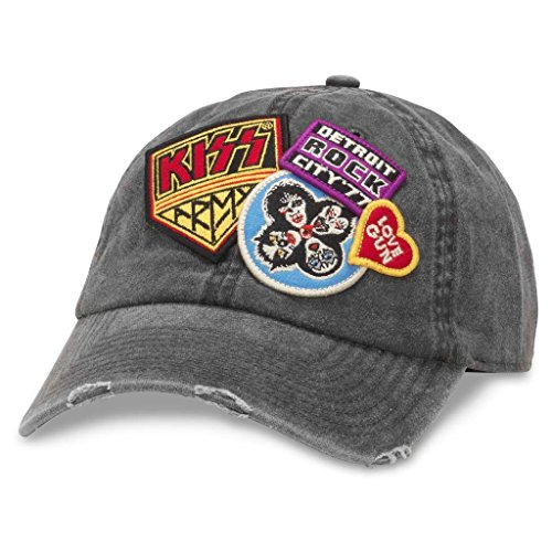 American Needle Iconic Patch Distressed Dad Hat KISS Band, Black (43910A-KISS)